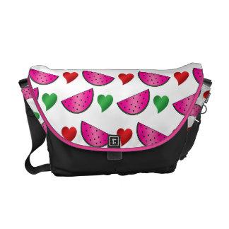 Watermelon heart pattern messenger bag