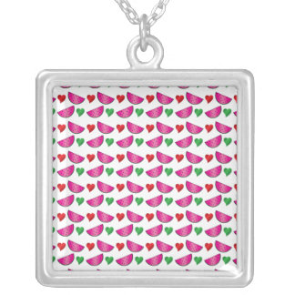 Watermelon heart pattern necklaces