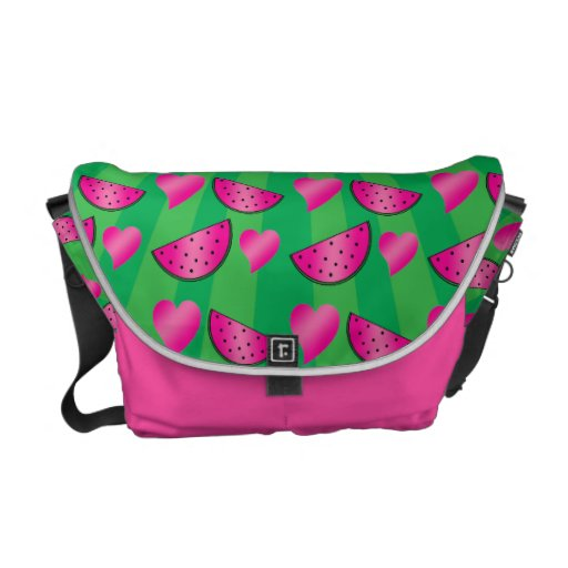 Watermelon heart pattern on green messenger bags