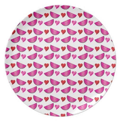 Watermelon heart pattern party plate