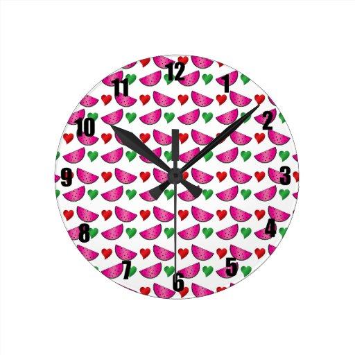 Watermelon heart pattern round wall clocks