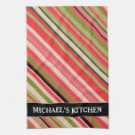 [ Thumbnail: Watermelon-Inspired Stripes + Custom Name Kitchen Towel ]