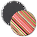 [ Thumbnail: Watermelon-Inspired Stripes Magnet ]