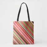 [ Thumbnail: Watermelon-Inspired Stripes Pattern Tote ]