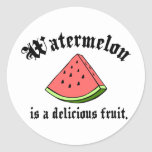 Watermelon Is A Delicious Fruit Round Stickers