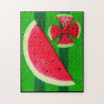 """Watermelon Jigsaw Puzzle<br><div class=""""desc"""">On a hot summer day,  one of the most refreshing things is a nice slice of watermelon.</div>"""