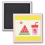 Watermelon + Juice + Fly Fridge Magnets
