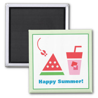 Watermelon + Juice + Fly 2 Inch Square Magnet