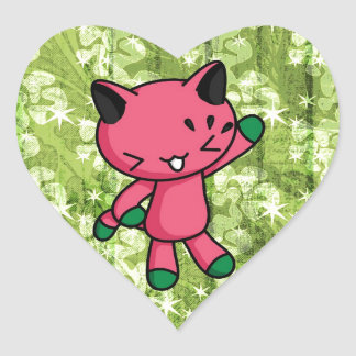 Watermelon Kitty Heart Sticker