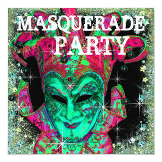 Watermelon Lime Green Hot Pink Masquerade Party Invitation