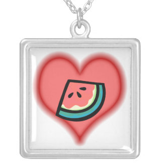 watermelon lovers silver plated necklace