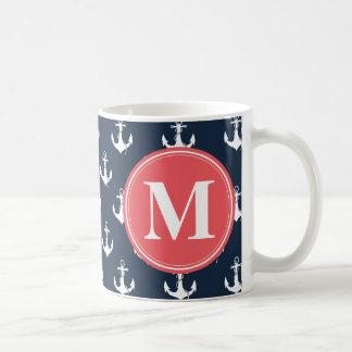 Watermelon Monogrammed Navy Blue Anchor Pattern Coffee Mug