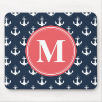 Watermelon Monogrammed Navy Blue Anchor Pattern Mouse Pad