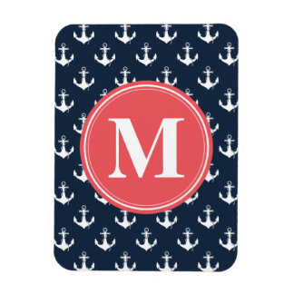 Watermelon Monogrammed Navy Blue Anchor Pattern Rectangular Photo Magnet