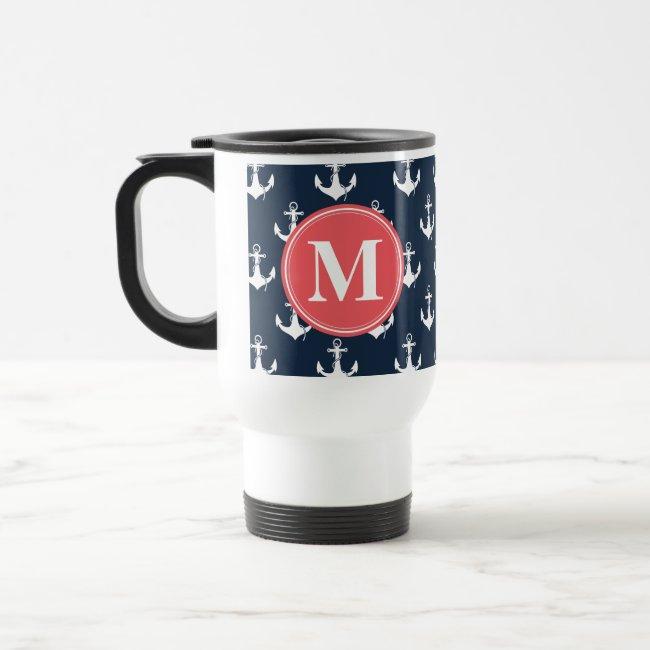 Watermelon Monogrammed Navy Blue Anchor Pattern Travel Mug