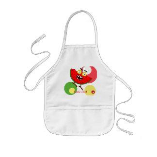 Watermelon monster fruit illustration kids' apron