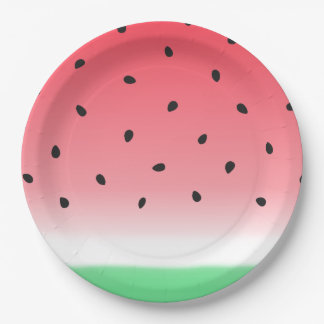 Watermelon Ombre Stripes Paper Plate