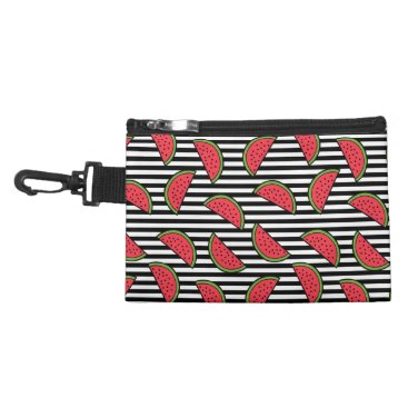 Watermelon on Black & White Stripes Pattern Accessory Bag