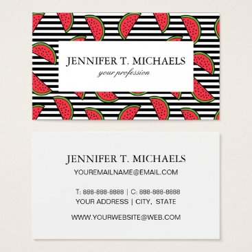 Watermelon on Black & White Stripes Pattern Business Card