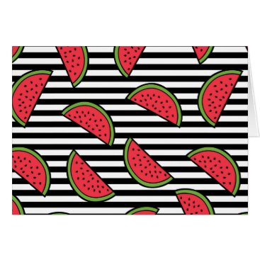 Watermelon on Black & White Stripes Pattern Card