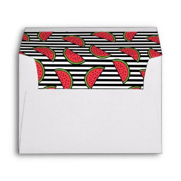 Watermelon on Black & White Stripes Pattern Envelope