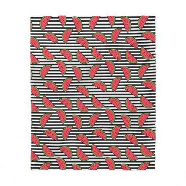 Watermelon on Black & White Stripes Pattern Fleece Blanket