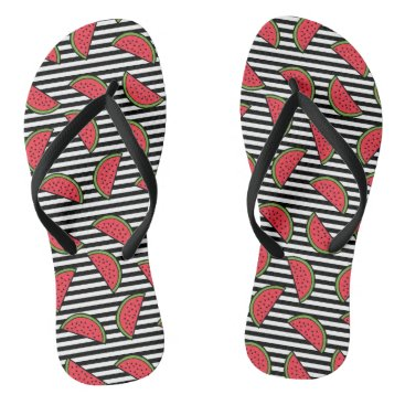 Watermelon on Black & White Stripes Pattern Flip Flops