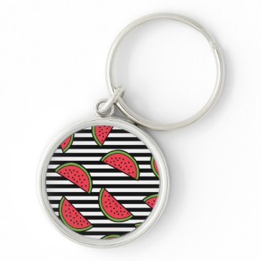 Watermelon on Black & White Stripes Pattern Keychain
