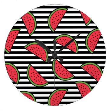 Watermelon on Black & White Stripes Pattern Large Clock