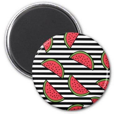 Watermelon on Black & White Stripes Pattern Magnet