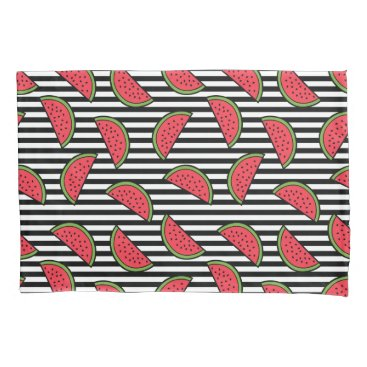 Watermelon on Black & White Stripes Pattern Pillowcase