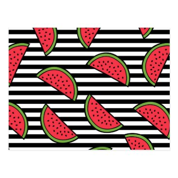 Watermelon on Black & White Stripes Pattern Postcard