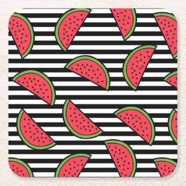 Watermelon on Black & White Stripes Pattern Square Paper Coaster