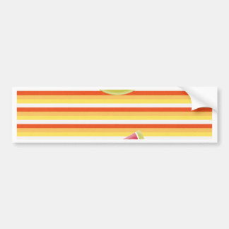 Watermelon on Green Ribbon Look, Red, Yellow, Oran Bumper Sticker
