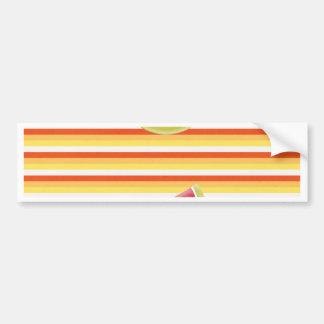 Watermelon on Green Ribbon Look, Red, Yellow, Oran Bumper Sticker
