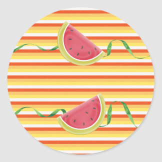Watermelon on Green Ribbon Look, Red, Yellow, Oran Classic Round Sticker