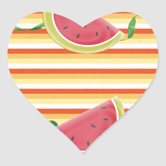 Watermelon on Green Ribbon Look, Red, Yellow, Oran Heart Sticker