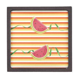 Watermelon on Green Ribbon Look, Red, Yellow, Oran Jewelry Box