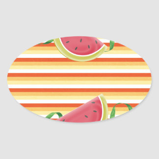 Watermelon on Green Ribbon Look, Red, Yellow, Oran Oval Sticker