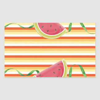 Watermelon on Green Ribbon Look, Red, Yellow, Oran Rectangular Sticker