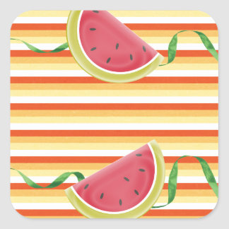 Watermelon on Green Ribbon Look, Red, Yellow, Oran Square Sticker