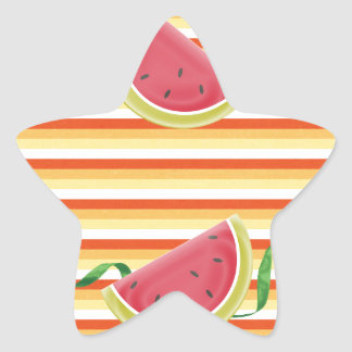 Watermelon on Green Ribbon Look, Red, Yellow, Oran Star Sticker