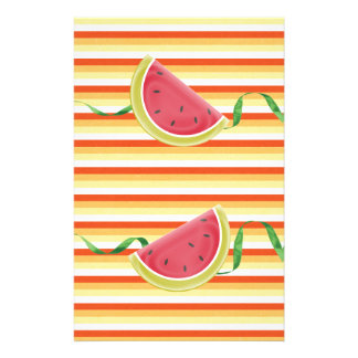 Watermelon on Green Ribbon Look, Red, Yellow, Oran Stationery