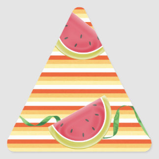 Watermelon on Green Ribbon Look, Red, Yellow, Oran Triangle Sticker