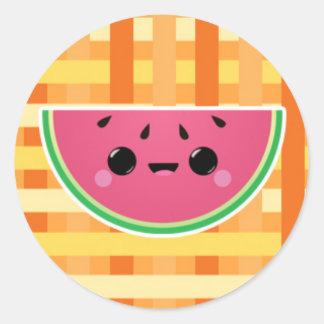 Watermelon on Orange Lattice Classic Round Sticker