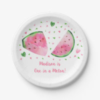 Watermelon One In A Melon Birthday Paper Plate
