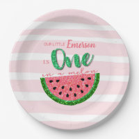 Watermelon, One in a Melon Invitation Paper Plate