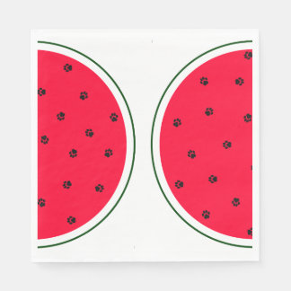 Watermelon Paper Napkin With Paw Print Seeds