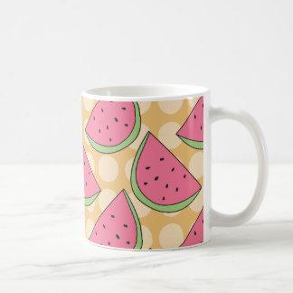 Watermelon Pattern, Orange Polka Dots Coffee Mug