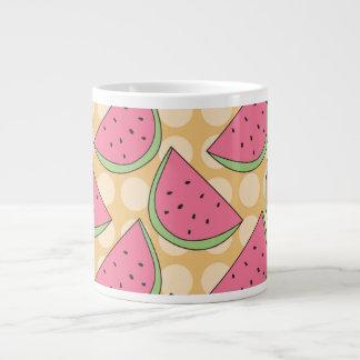 Watermelon Pattern, Orange Polka Dots Giant Coffee Mug